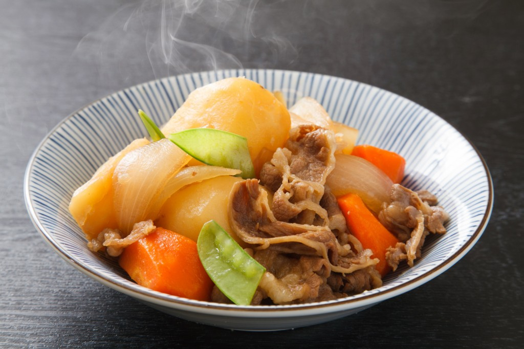 nikujaga, braised meat and potatoes, Japanese food